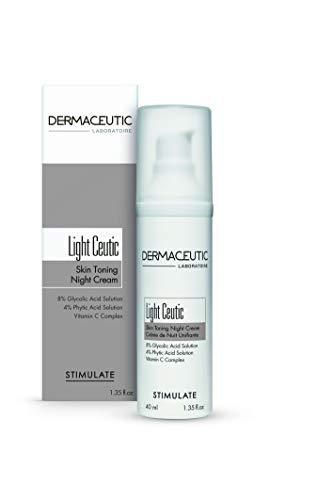 Dermaceutic Light Ceutic - Hautstraffende Nachtcreme - Aufhellende Anti-Aging-Gesichtscreme mit Glykolsäure, Phytinsäure und Vitamin C - Antifaltencreme - 40 ml